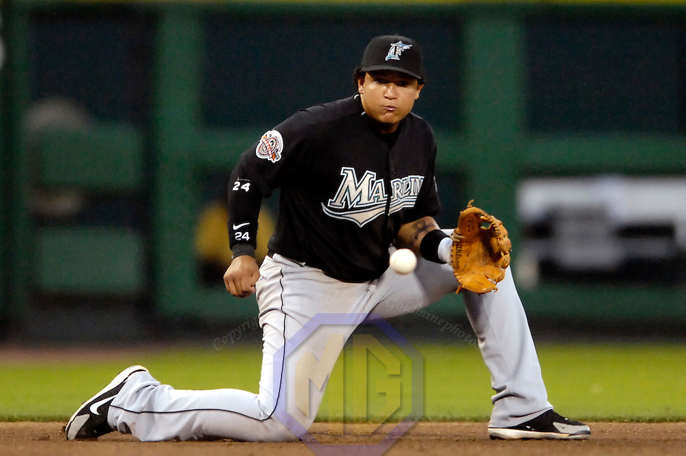 11 May 2007:  Florida Marlins third baseman Miguel Cabrera (24) fields a ground ball in the 4th inning hit by Washington Nationals right fielder Austin Kearns.  Kearns was safe at first on Cabrera's second throwing error of the game as the Nationals defeated the Marlins 6-0 at RFK Stadium in Washington, D.C.  ****For Editorial Use Only****