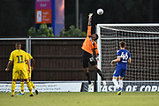 Jamal Blackman (27) of Leeds United makes a save during the Pre-Season Friendly match between Oxford United and Leeds United at the Kassam Stadium, Oxford, England on 24 July 2018. Picture by Graham Hunt.