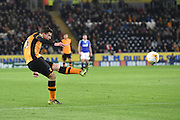 Hull City defender Andrew Robertson shoots towards goal during the Sky Bet Championship match between Hull City and Ipswich Town at the KC Stadium, Kingston upon Hull, England on 20 October 2015. Photo by Ian Lyall.