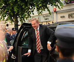 An Taoiseach Enda Kenny enjoyed his spin in the US Vice President&rsquo;s Jeep.<br />Pic Conor McKeown