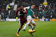 Hearts FC Midfielder Miguel Pallardo defends the ball during the Scottish Cup 5th round match between Heart of Midlothian and Hibernian at Tynecastle Stadium, Gorgie, Scotland on 7 February 2016. Photo by Craig McAllister.