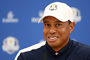 Tiger Woods (Usa) during the press conference of the Ryder Cup 2018, at Golf National in Saint-Quentin-en-Yvelines, France, September 25, 2018 - Photo Philippe Millereau / KMSP / ProSportsImages / DPPI