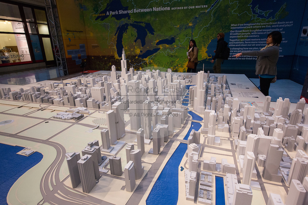 Model of the skyline of Chicago in the atrium of the Santa Fe Building in Chicago, IL.