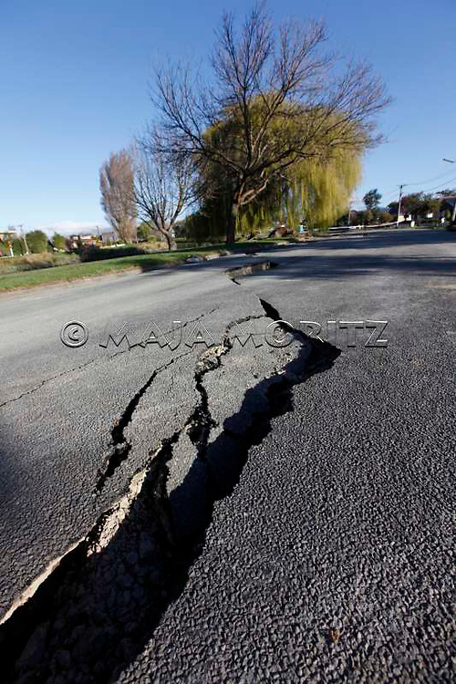 Earthquake damage to road on Avonside Drive, Avonside, Christchurch, New Zealand