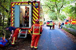 © licensed to London News Pictures  15/09/2011 . Pontardawe,UK. An operation in underway to rescue four miners trapped in a mine in the Swansea Valley. Photo credit :Aled Llywelyn/LNP