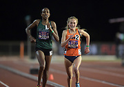 May 3, 2018; Stanford, CA, USA; Caroline Kurgat of Alaska Anchorage (left) defeats Paige Stoner of Syracuse to win a women's' 5,000m heat, 15:41.21 to 15:41.26, during the Payton Jordan Invitational at Cobb Track &  Angell Field.