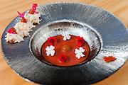 Emulsion e infusion dish at Azurmendi restaurant, in Larrabetzu, near Bilbao, Spain.