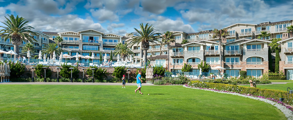 Laguna Beach Ca, Montage Resort Hotel, Children Playing Large Poodle Watching Panorama