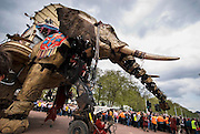A huge mechanical elephant and a puppet girl were the centrepiece of a dramatised fairytale called The Sultan's Elephant.They were part of a three day piece of street theatre in central London.