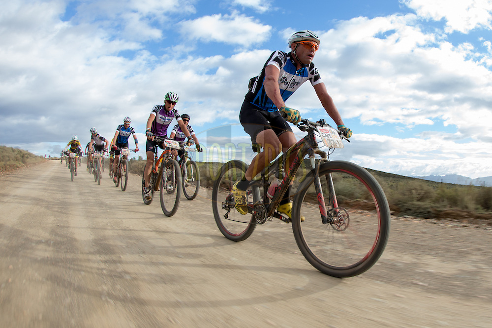 Shan Wilson of team Definitive Bikes leads a group during stage 3 of the 2014 Absa Cape Epic Mountain Bike stage race held from Arabella Wines in Robertson to The Oaks Estate in Greyton, South Africa on the 26 March 2014<br /> <br /> Photo by Greg Beadle/Cape Epic/SPORTZPICS