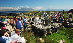 Fr Karl Burns is pictured celebrating mass on Caher Island on the 15th of August...Pic Conor McKeown