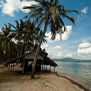 Tropical beach hut on deserted Island, Palawan, Philippines