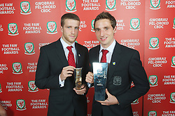 CARDIFF, WALES - Monday, October 8, 2012: Wales' Young Player of the Year Adam Matthews and Senior Player of the Year Joe Allen during the FAW Player of the Year Awards Dinner at the National Museum Cardiff. (Pic by David Rawcliffe/Propaganda)