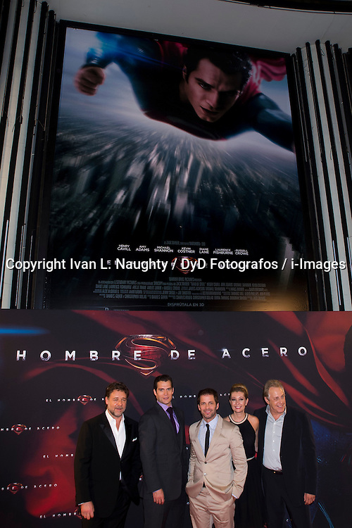 (L-R) Russell Crowe, Henry Cavill, Zack Snyder, Deborah Sanyder and Charles Roven during premiere of the film Man of Steel, Capitol Cinema. Madrid. Spain, Monday, 17th June 2013. Picture by Ivan L. Naughty / DyD Fotografos / i-Images.<br /> SPAIN OUT