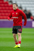 Lynden Gooch (#11) of Sunderland AFC warms up before the EFL Sky Bet League 1 match between Sunderland AFC and Luton Town at the Stadium Of Light, Sunderland, England on 12 January 2019.