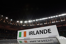 A general view of the Ireland sign on the dugout before the World Cup 2010 qualifying football match France vs. Republic of Ireland on November 18, 2009 at the Stade de France in Saint-Denis, northern Paris.
