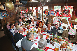 05.10.2014, Theresienwiese, München, GER, 1. FBL, FC Bayern Muenchen am Oktoberfest, im Bild General view of the board of directors table during the Oktoberfest beer festival at Kaefer Wiesnschaenke tent at Theresienwiese on 2014/10/05. EXPA Pictures © 2014, PhotoCredit: EXPA/ Eibner-Pressefoto/ Pool<br /> <br /> *****ATTENTION - OUT of GER*****