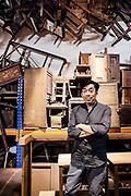Chris Ong at his furniture workshop. Georgtown, Penang