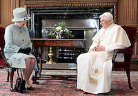 Pope Benedict XVI sits for an audience with Queen Elizabeth ll in the Morning Drawing Room at The PalREL of Holyrood House at the start of his 4 day visit to Britain on September 16, 2010 in Edinburgh, Scotland. .