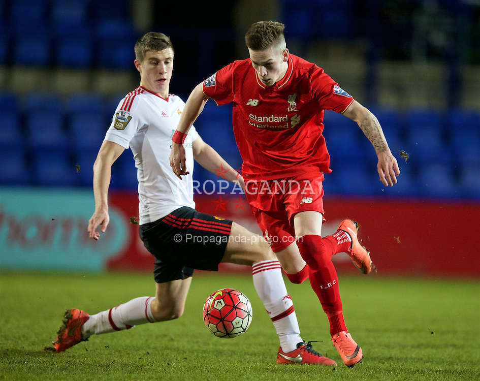 BIRKENHEAD, ENGLAND - Friday, March 11, 2016: Liverpool's Ryan Kent in action against Manchester United during the Under-21 FA Premier League match at Prenton Park. (Pic by David Rawcliffe/Propaganda)