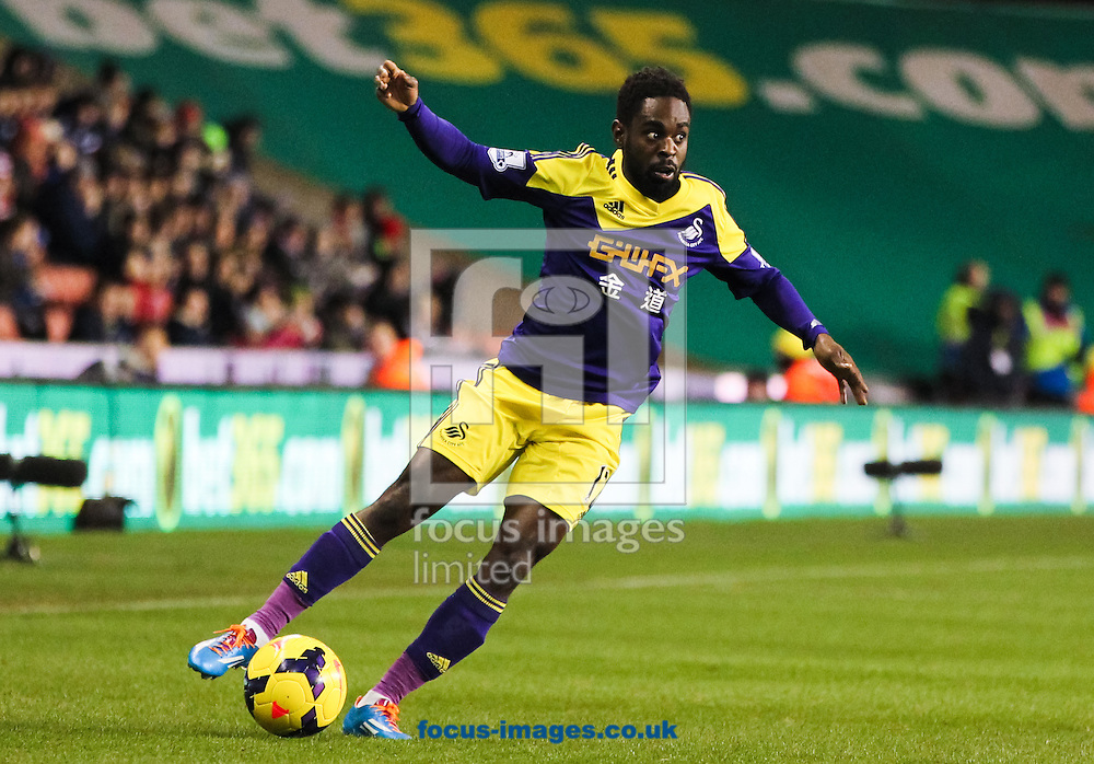 Nathan Dyer of Swansea City in possession of the ball during the Barclays Premier League match at the Britannia Stadium, Stoke-on-Trent<br /> Picture by Tom Smith/Focus Images Ltd 07545141164<br /> 12/02/2014