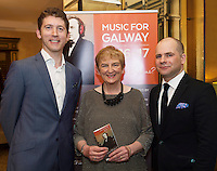 Finghin Collins,  Anne O'Maille and John Gilhooly in  Hotel Meyrick for the launch of Music for Galway's new International Concert Season 'Aimez-vous Brahms?' opening on September 28th and running until May 18th including main concert series, Lunchtime series and Midwinter Festival.  . Photo: xposure.