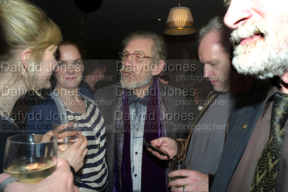 Ruth Wilson; SIR Ian McKellen; Sean Mathias; , The after-party for Waiting for Godot.( Opening at the Theatre Royal Haymarket. )  Haymarket Hotel. London. 27 January 2010