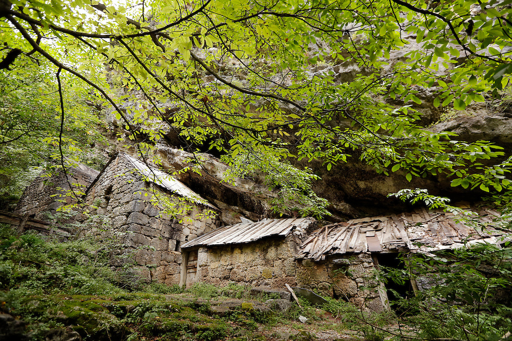 Stone houses at the 17th century  village of Sklopina, Paklenica, National Park, Croatia.
