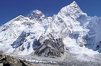 Mount Everest 8848m and Lhotse - Khumbu region - Nepal