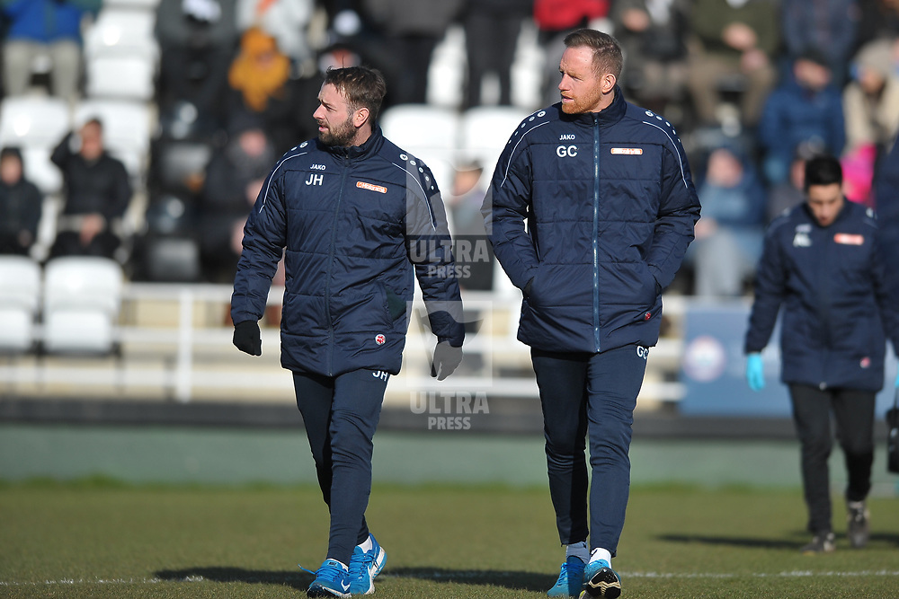 TELFORD COPYRIGHT MIKE SHERIDAN Jamie Haynes and Gavin Cowan  during the Vanarama Conference North fixture between Spennymoor Town and AFC Telford United at Brewery Field, Spennymoor on Saturday, February 29, 2020.<br /> <br /> Picture credit: Mike Sheridan/Ultrapress<br /> <br /> MS201920-048