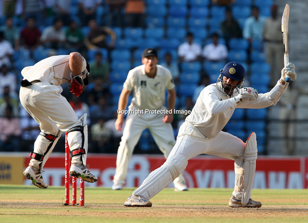 Indian batsman Harbhajan Singh plays a shot against New Zealand during the 3rd test match India vs New Zealand day-3 Played at Vidarbha Cricket Association Stadium, Jamtha, Nagpur, 22, November 2010 (5-day match)