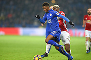 Leicester City midfielder Demarai Gray (22) battles with Manchester United midfielder Paul Pogba (6) during the Premier League match between Leicester City and Manchester United at the King Power Stadium, Leicester, England on 5 February 2017. Photo by Jon Hobley.