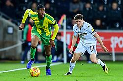 Tosin Adarabioyo of West Bromwich Albion is marked by Daniel James of Swansea City - Mandatory by-line: Ryan Hiscott/JMP - 28/11/2018 - FOOTBALL - Liberty Stadium - Swansea, England - Swansea City v West Bromwich Albion - Sky Bet Championship