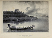 A row boat on the Mamore River. A rest stop in the background. Province of Moxos, Bolivia. [Une halte sur le Mamore. Province de Moxos (Bolivia).] From the book 'Voyage dans l'Amérique Méridionale' [Journey to South America: (Brazil, the eastern republic of Uruguay, the Argentine Republic, Patagonia, the republic of Chile, the republic of Bolivia, the republic of Peru), executed during the years 1826 - 1833] 3rd volume By: Orbigny, Alcide Dessalines d', d'Orbigny, 1802-1857; Montagne, Jean François Camille, 1784-1866; Martius, Karl Friedrich Philipp von, 1794-1868 Published Paris :Chez Pitois-Levrault et c.e ... ;1835-1847