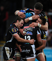 Exeter Chiefs Jack Nowell celebrates his sides try with team mates  - Photo mandatory by-line: Harry Trump/JMP - Mobile: 07966 386802 - 14/02/15 - SPORT - Rugby - Aviva Premiership - Sandy Park, Exeter, England - Exeter Chiefs v Newcastle Falcons