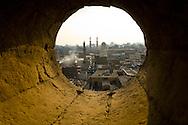 Egypt . Cairo : the SOUTH of al kahira , sharia AL Mu'izz LI DIN Allah south, mosque AL FAQUAHANI,  BAB ZOUWEILA minaret and gate - view from the minarets of THE GHURIYA, Al Ghuri mosque and khanqa complex  .Islamic Cairo   NM102