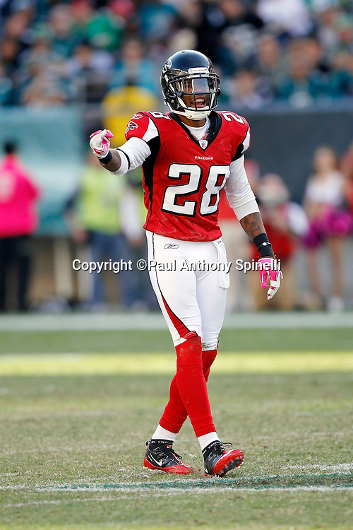 Atlanta Falcons safety Thomas DeCoud (28) points and calls out during the NFL week 6 football game against the Philadelphia Eagles on Sunday, October 17, 2010 in Philadelphia, Pennsylvania. The Eagles won the game 31-17. (©Paul Anthony Spinelli)