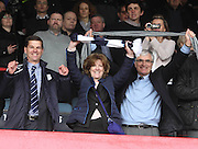 Tim Keyes and Pam and Bill Colvin celebrate - Dundee v Dumbarton, SPFL Championship, Helicopter Saturday at Dens Park<br /> <br />  - &copy; David Young - www.davidyoungphoto.co.uk - email: davidyoungphoto@gmail.com