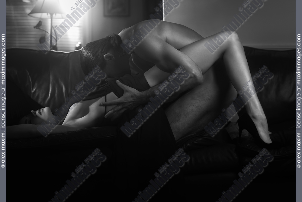 Romantic Black And White Sensual Erotic Photo Of A Sexy Couple Making Love On A Sofa