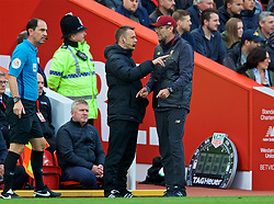 LIVERPOOL, ENGLAND - Sunday, October 7, 2018: Liverpool's manager Jürgen Klopp complains to the fourth official Stuart Atwell during the FA Premier League match between Liverpool FC and Manchester City FC at Anfield. (Pic by David Rawcliffe/Propaganda)
