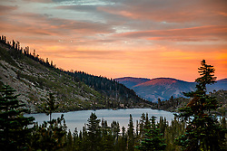 """""""Long Lake Sunset"""" - Sunset photograph of Long Lake in the Plumas National Forest."""