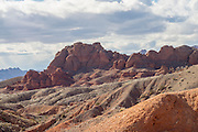 Eroded redstone in Lake Mead National Recreation Area, Nevada. Aztec Sandstone outcrops from ancient sand dunes.