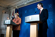 German Chancellor Angela Merkel and Norwegian PM Jens Stoltenberg seen during a press conference in Oslo. Merkel and Stoltenberg discussed the economy, energy and future relationships during the meeting.