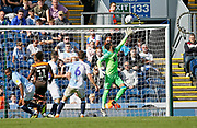 Blackburn Rovers David Raya watches the ball bounce back off his cross bar during the EFL Sky Bet Championship match between Blackburn Rovers and Brentford at Ewood Park, Blackburn, England on 25 August 2018.