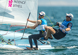 10.08.2012, Bucht von Weymouth, GBR, Olympia 2012, Segeln, im Bild SILVER:.Morrison Stephen, Rhodes Ben, (GBR, 49er) // during Sailing, at the 2012 Summer Olympics at Bay of Weymouth, United Kingdom on 2012/08/10. EXPA Pictures © 2012, PhotoCredit: EXPA/ Daniel Forster ***** ATTENTION for AUT, CRO, GER, FIN, NOR, NED, .POL, SLO and SWE ONLY!