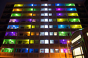 18 January 2017: Flats in Hull's Thornton Estate are lit up this evening by an art installation, I Wish To Communicate With You,  which is part of the Hull UK City of Culture 2017 Made In Hull celebrations.<br /> <br /> I Wish To Communicate With You is an ambitious mass participation project engaging local residents in a major art installation. Over the upcoming weeks Thornton Estate will get a full colour makeover with the majority of the 600 residents, living in 240 homes, across the five high-rise tower blocks participating in this large-scale light installation. <br /> <br /> The initial concept for the project was developed by Italian artist Silvio Palladino who had a residency in Hull in 2014-15. He returned to the City this evening for the switch on.<br /> Picture: Sean Spencer/Hull News & Pictures Ltd<br /> 01482 210267/07976 433960<br /> www.hullnews.co.uk         sean@hullnews.co.uk