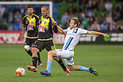 28 Mar 2016: Emmanuel Muscat of the Wellington Phoenix and Jacob Melling of Melbourne City contest the ball during the 25th round of the 2015-16 Hyundai A-League Season between Melbourne City and Wellington Phoenix held at AAMI Park, VIC, Australia. (Photo by Jason Heidrich/Icon Sportswire)