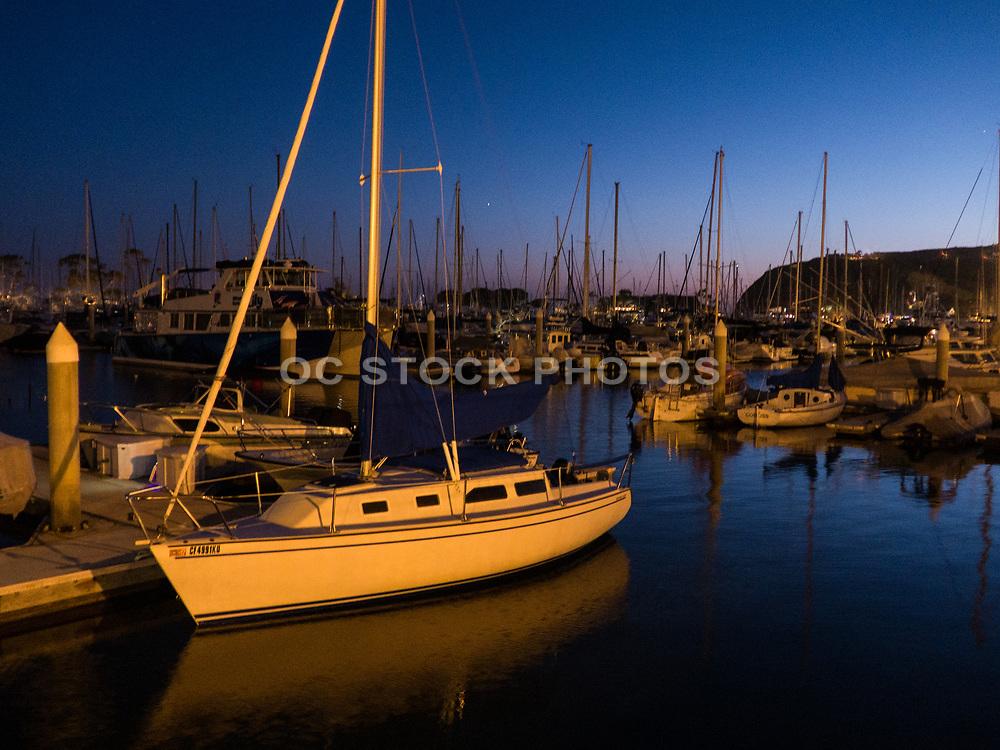 Sailboats and Yachts at Dusk in the Dana Point Harbor