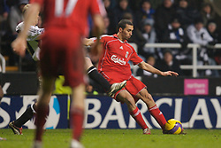 Newcastle, England - Saturday, February 10, 2007: Liverpool's Alvaro Arbeloa in action against Newcastle United during the Premiership match at St James' Park. (Pic by David Rawcliffe/Propaganda)