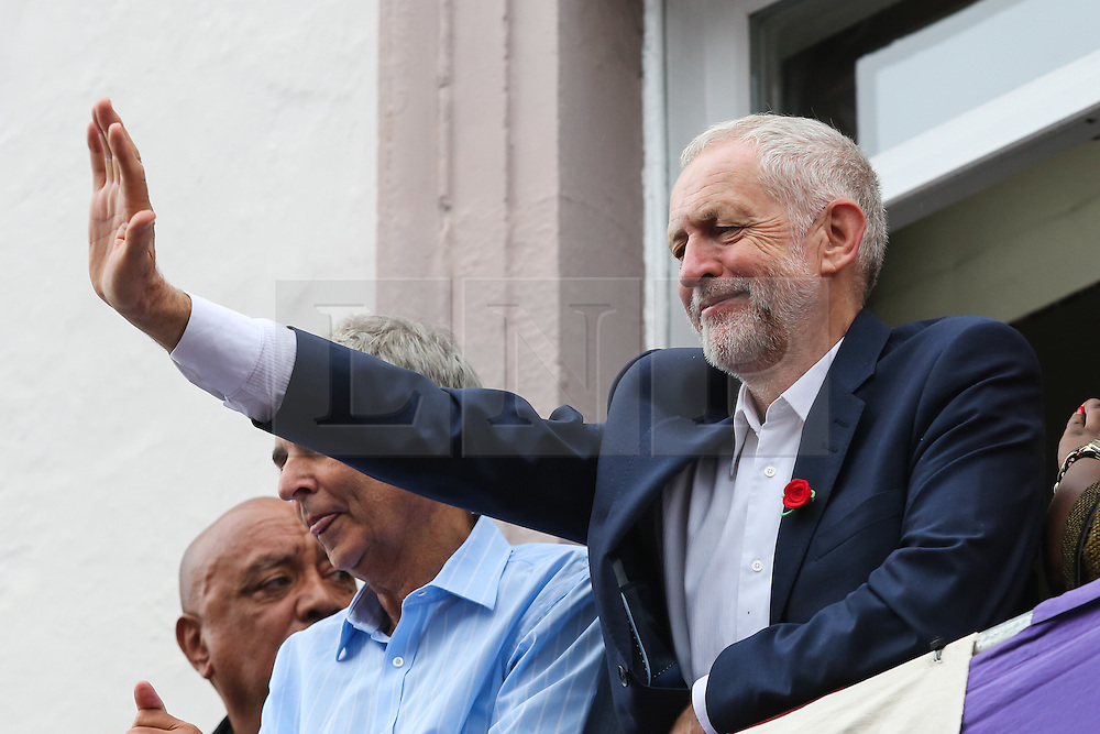 © Licensed to London News Pictures. 09/07/2016. Durham, UK. Labour leader Jeremy Corbyn waves to supporters at the Durham Miners' Gala in County Durham, UK. The gala is a large gathering held annually associated with the coal mining heritage and trade unionism. Photo credit : Ian Hinchliffe/LNP